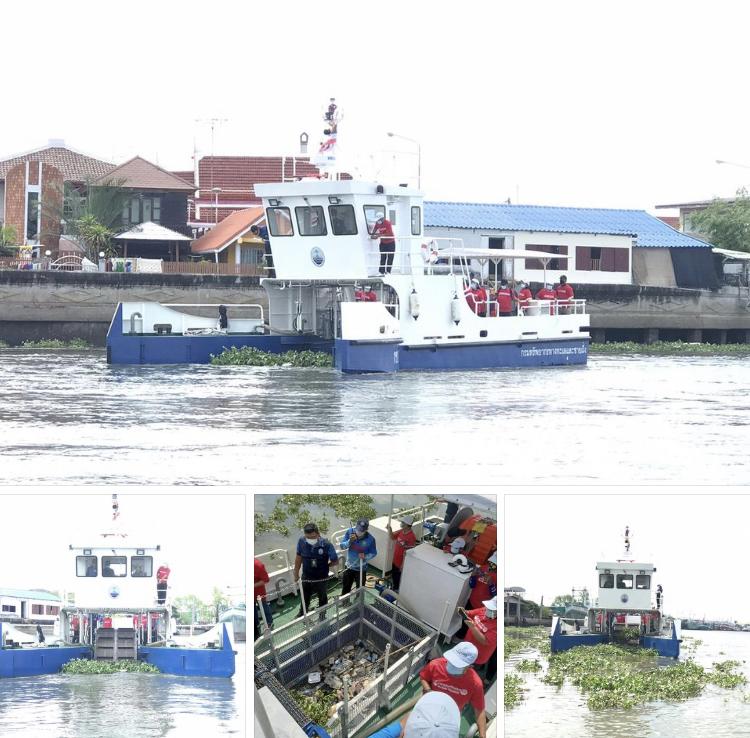เรือเก็บขยะมาแล้ว เพิ่มประสิทธิภาพลดขยะปากน้ำท่าจีน